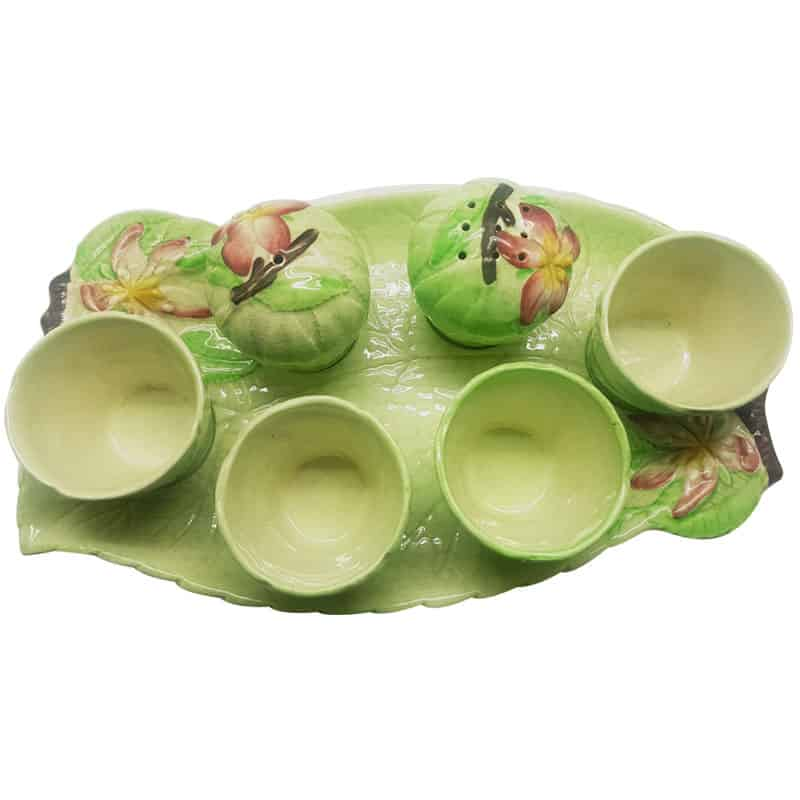 Carlton Ware Apple Blossom Cruet Ovoid Egg Cups And Dish