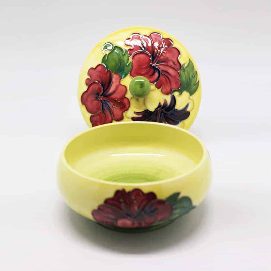 Moorcroft Hibiscus Pattern Bowl and Lid