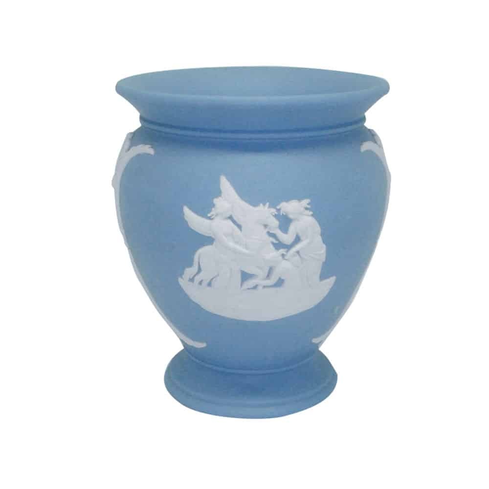 Wedgwood Light Blue Jasperware Round Small Vase Clyde On
